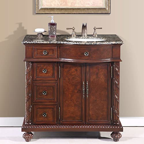 Silkroad Exclusive HYP-0213-BB-UWC-36-R Countertop Granite Stone Sink Bathroom Vanity with Cabinet, 36 , Medium Wood