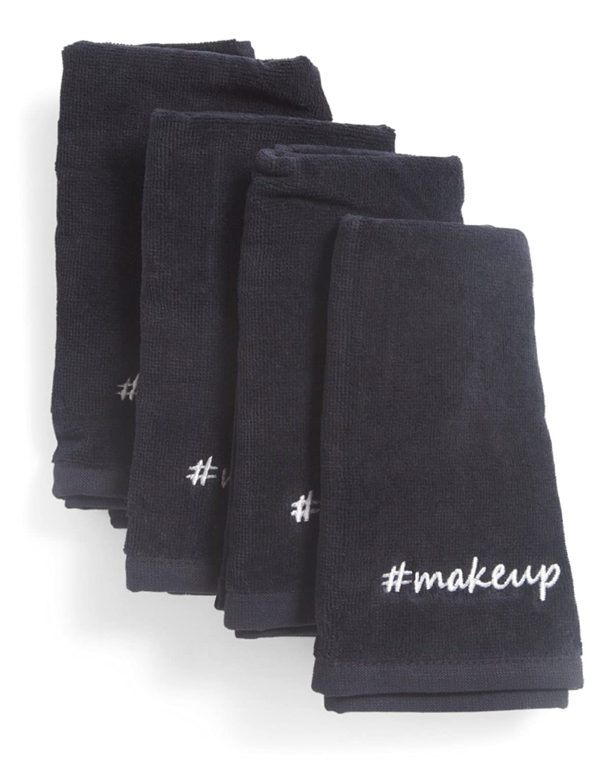 Cynthia Rowley Black Makeup Towels Soft Absorbent Cotton Cleansing Washcloth (Set of 4)