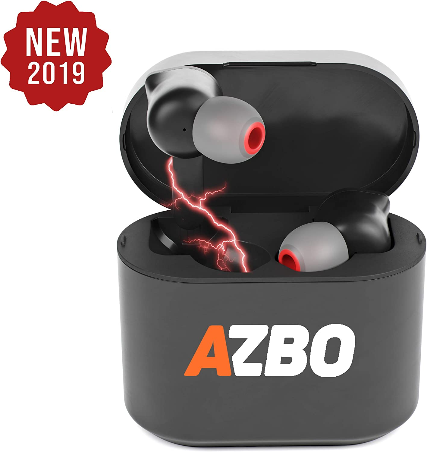 AZBO True Wireless Bluetooth Earbuds 5.0 by AZBO – iOS Android Compatible in-Ear Headphones – IPX Waterproof Stereo Sound Earphones with Microphone and Charging Case – 7 Hours Extended Playtime