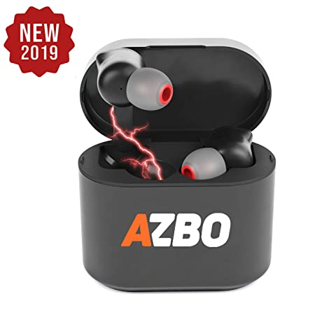 True Wireless Bluetooth Earbuds 5.0 by AZBO – IOS Android Compatible In-Ear Headphones – IPX Waterproof Stereo Sound Earphones with Built-in Microphone and Charging Case – 7 Hours Extended Playtime