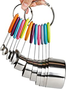 Measuring Cups and Spoons Set Stainless Steel of 12 for Dry and Liquid Ingredients Includes Metal 7 Cup and 5 Spoon with Magnetic Measurement Conversion Chart