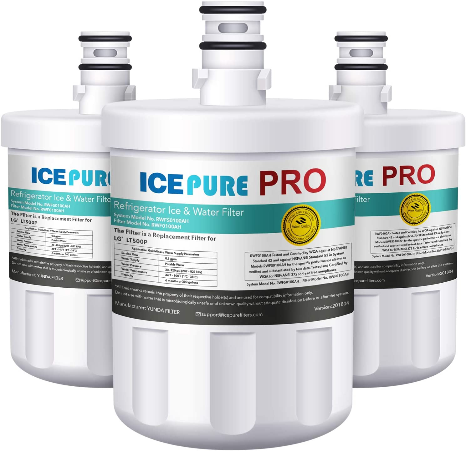 ICEPURE PRO LT500P NSF 53&42 Certified Refrigerator Water Filter Replacement for LG LT500P,5231JA2002A,ADQ72910901, Kenmore GEN11042FR-08, 9890, 46-9890,LFX25974ST, lfx25973s, RWF0100A 3PACK
