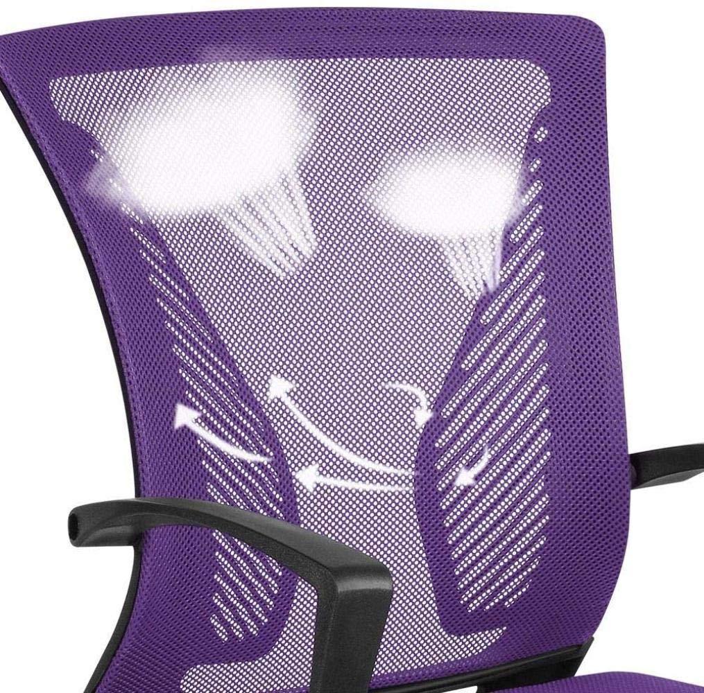 ASIG skrivbordsstol verkställande dator kontorsstol ergonomisk justerbar och vridbar tyg nätstol med bekvämt ryggstöd, lila Lila