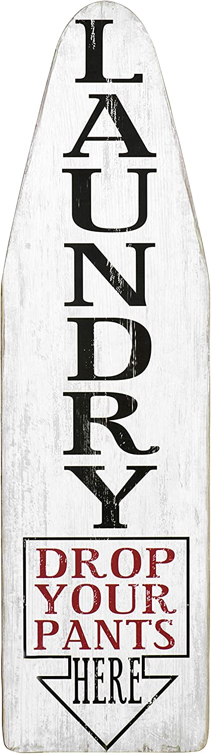 Creative Co-op Ironing Board Shaped Wood Drop Your Pants Here Black & Red Letters Laundry Room Wall Sign, White