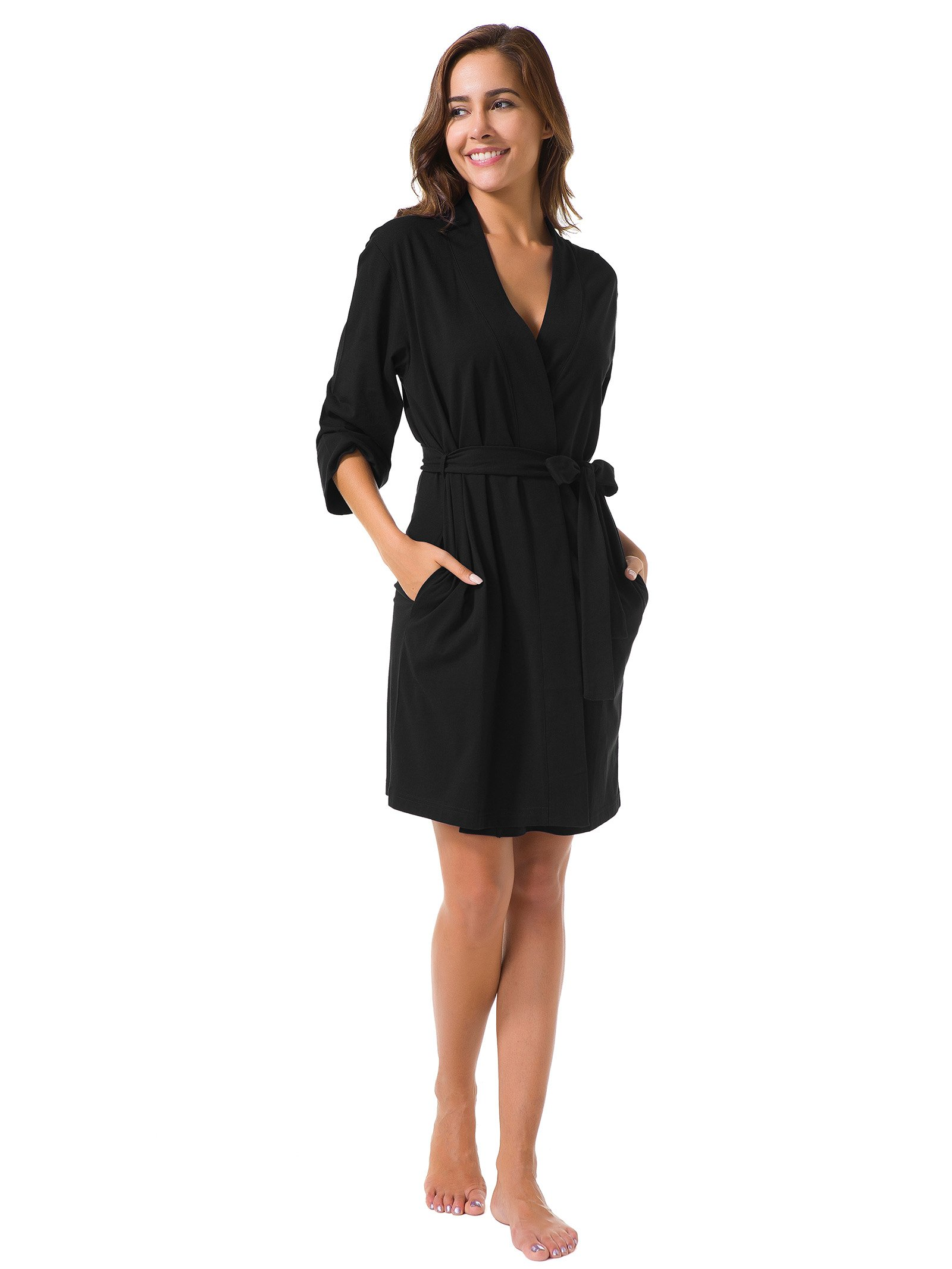 SIORO Cotton Robes Lightweight Kimono Robe Gowns Soft Knit Bathrobe Nightwear V-Neck Loungewear Sexy Sleepwear Short for Women, Black, S by SIORO (Image #4)