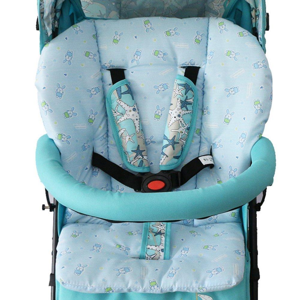 Newin Star Colchoneta para Cochecitos,Asiento Universal Coj/ín para cochecitos//capazos de beb/é//carritos//sillas de Paseo Algod/ón Suave Transpirable Azul