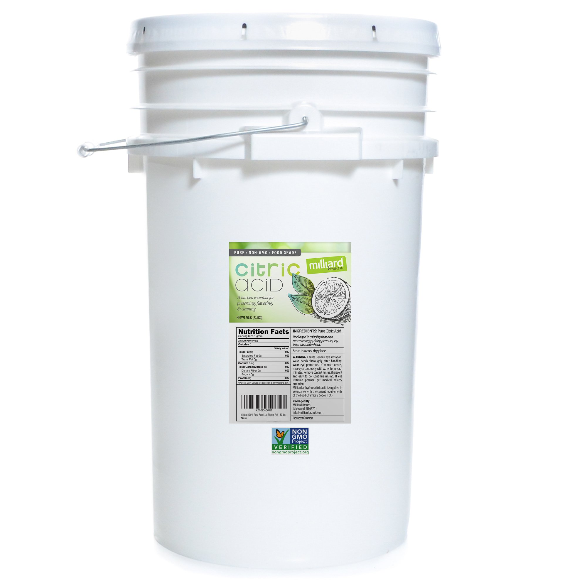Milliard Citric Acid 50 Pound PAIL - 100% Pure Food Grade NON-GMO Project VERIFIED (50 Pound) by Milliard (Image #1)