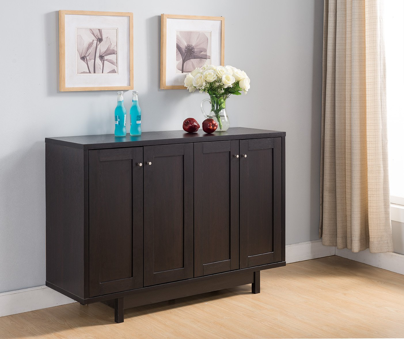 151370 Smart Home Red Cocoa Fine Dining Sideboard Cabinet Buffet Table
