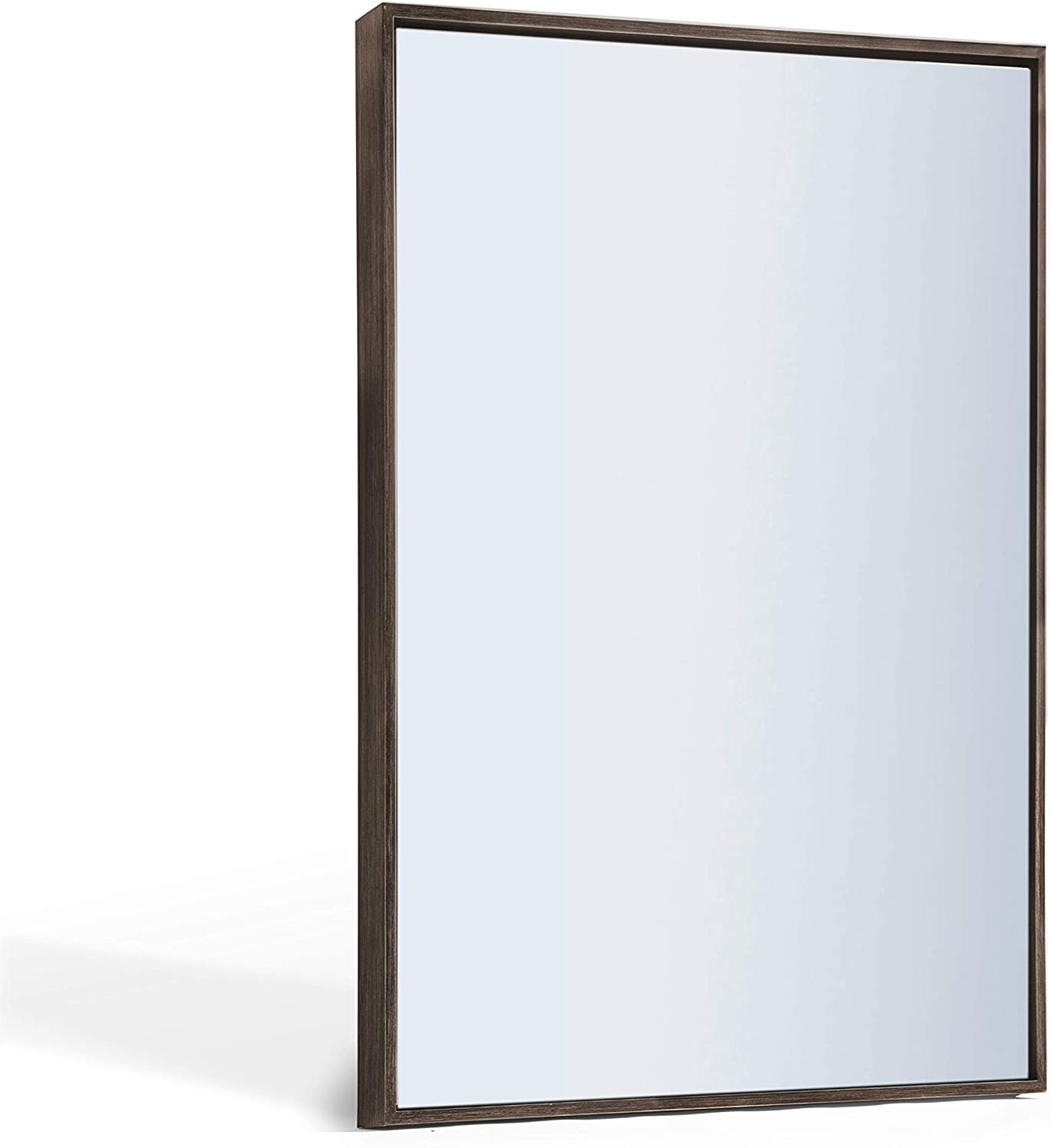 Amazon Com Andy Star Bathroom Mirror Rustic Walnut Wall Mirror 22 X30 Inch Contemporary Premium Silver Backed Floating Glass Panel Mirrored Rectangle Hangs Horizontal Or Vertical Kitchen Dining