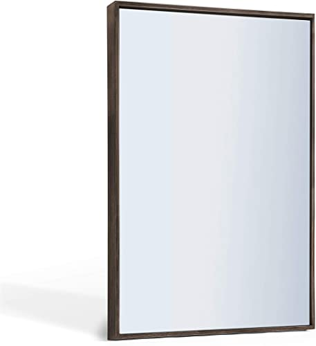 ANDY STAR Farmhouse Bathroom Mirror, Large Rustic Walnut Wall Mirror 30×40-Inch Contemporary Premium Silver Backed Floating Glass Panel Mirrored Rectangle Hangs Horizontal or Vertical
