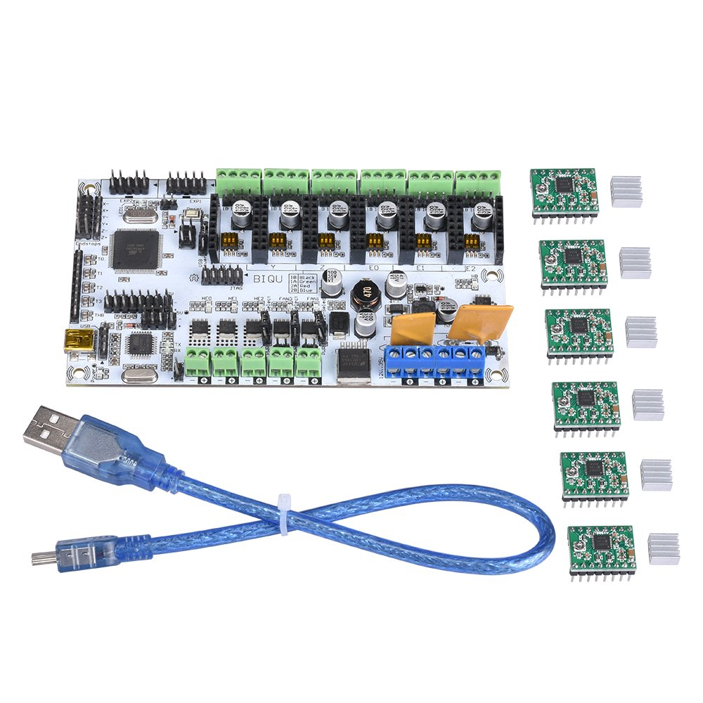 KINGPRINT Rumba 3D Printer Control Board with 6Pcs A4988 Stepper Motor Driver with USB Cable for 3D Printer