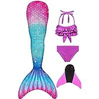 Decool Cola de Sirena Traje de Baño Sirena de Las Muchachas Bikini 4pcs Set, Princesa Cosplay Conjunto con Cola de…