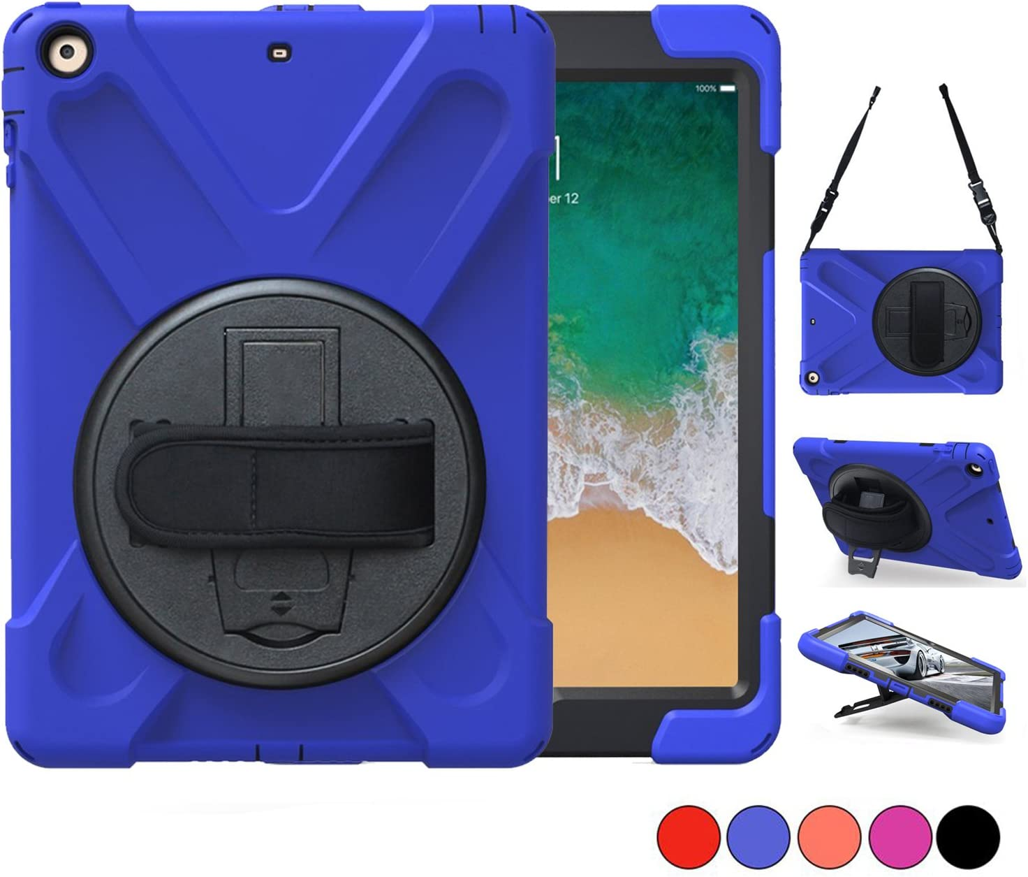 iPad Air 2 Case, TSQ Shockproof Defender Bumper Plastic Case With 360 Degree Swivel Stand, Handle Hand Grip & Shoulder Strap, For Apple Tablet Air 2 Gen Cover Skin For Kids Girls Boys A1566 A1567 Blue