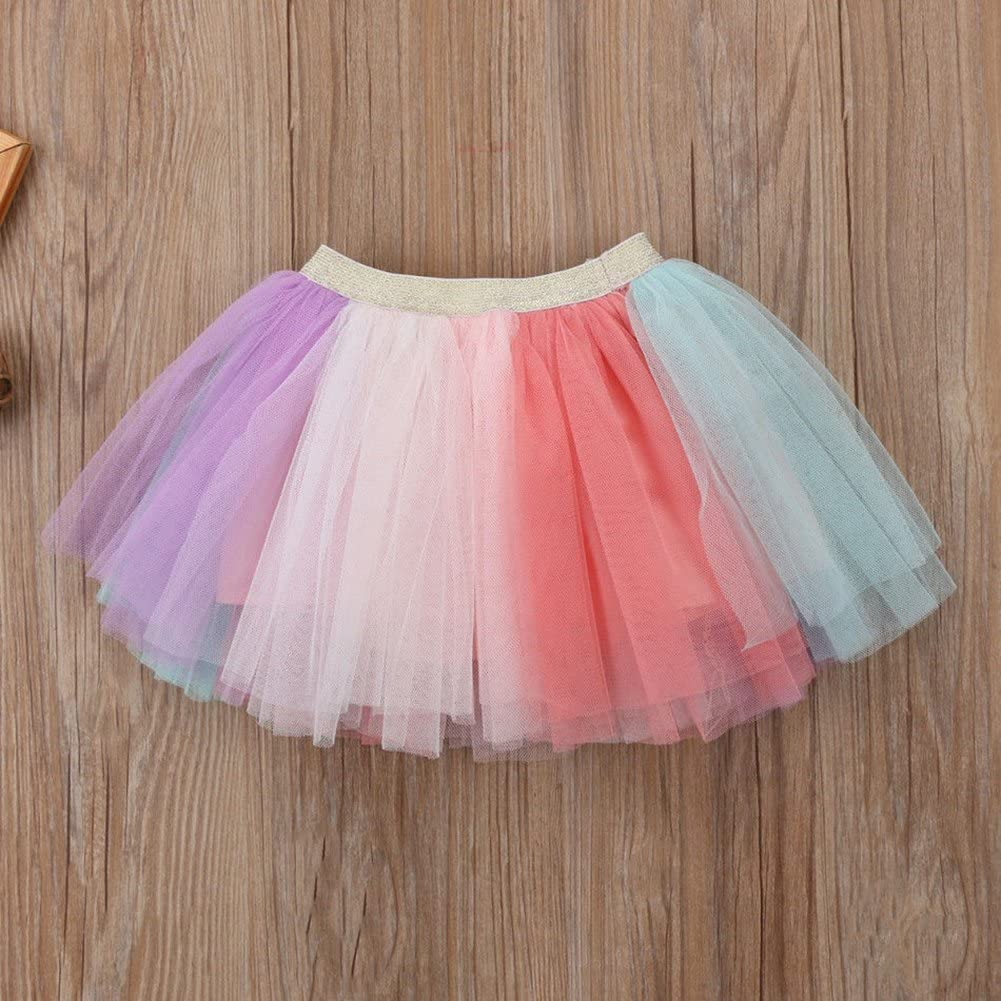 Baby Girl Unicorn T-Shirt /& Colorful Lace Tutu Skirt Set Pink,Toddler Kids Summer Outfit