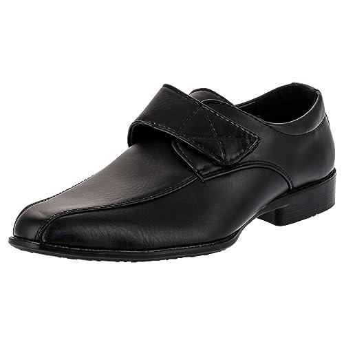 1b00db840cf209 Kinder Jungen Anzug Schuhe mit Echt Leder Innensohle und Klettverschluss  M090sw Schwarz 20