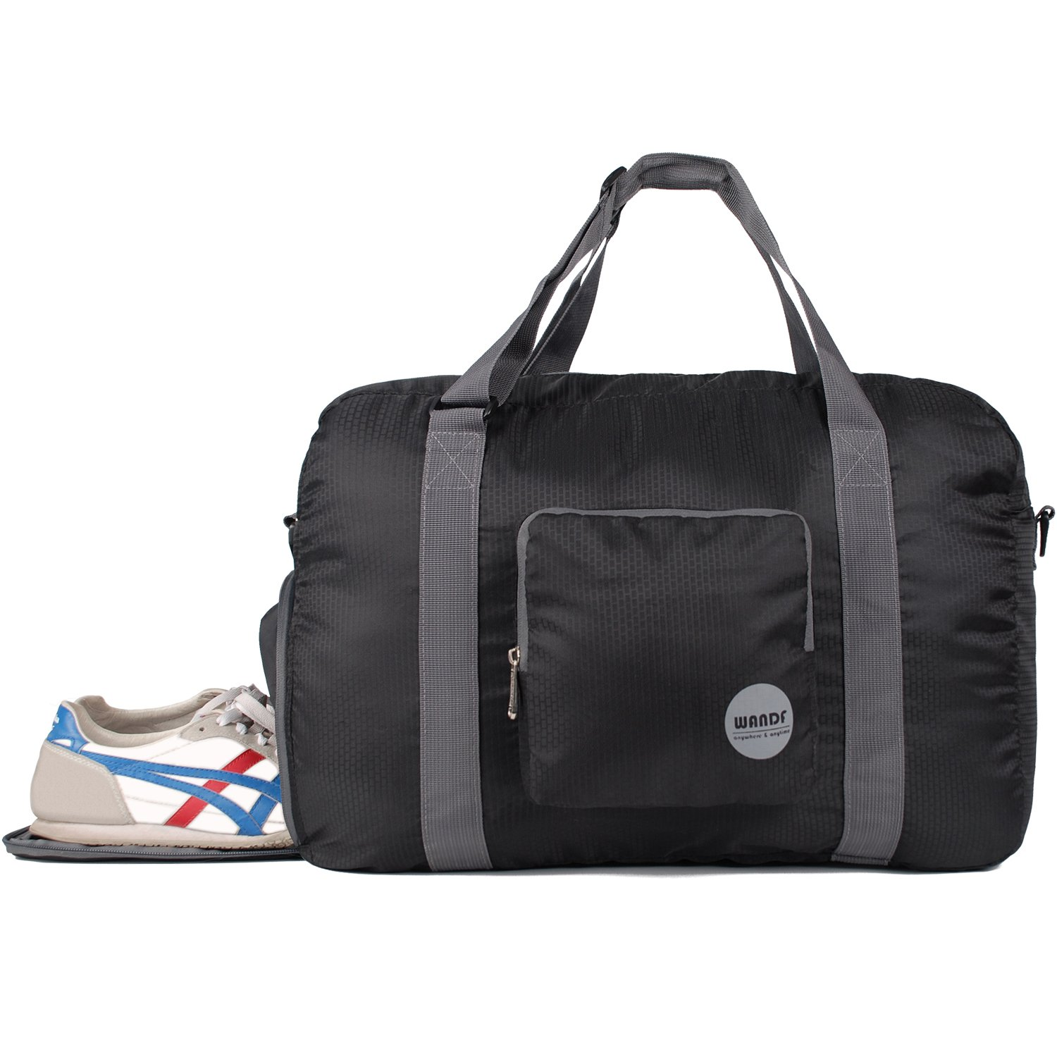 WANDF Foldable Duffle Bag with Shoe Compartment, for Luggage Sports Gym Water Resistant Nylon (Black)