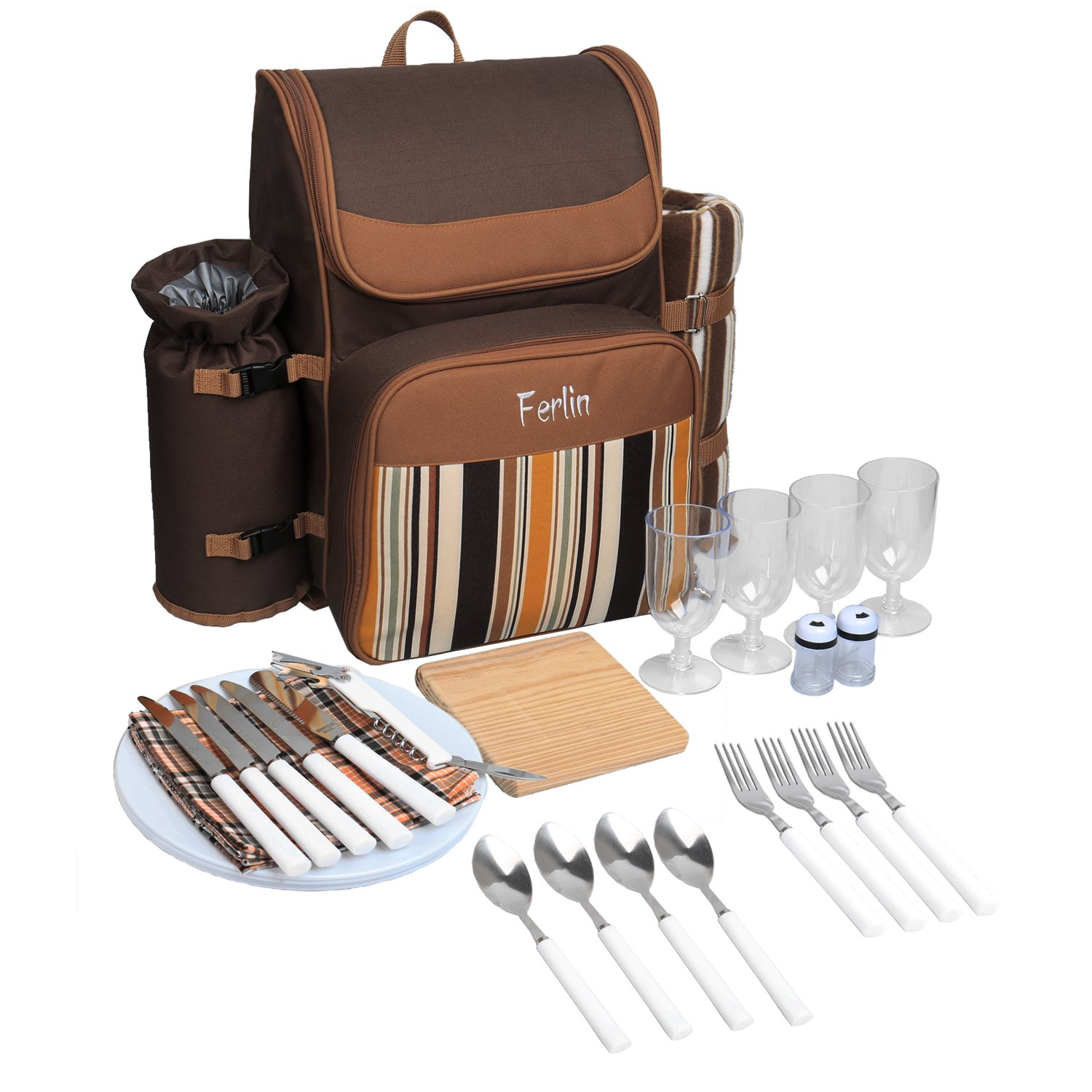 Ferlin Picnic Basket Backpack Set for 4 With Cooler Compartment, Detachable Bottle/Wine Holder, Fleece Blanket, Plates and Cutlery Set (Coffee)