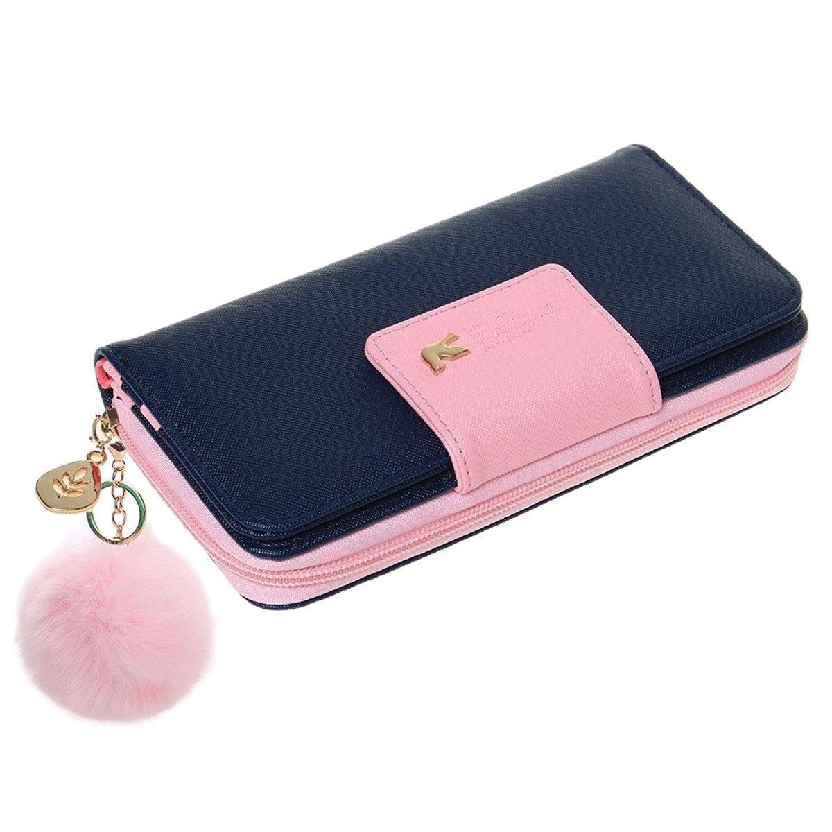 Newanima Moda Portafogli per le Donne PU Portafoglio Wearable Titolare Della Carta Portafoglio Con Portachiavi (rosa)