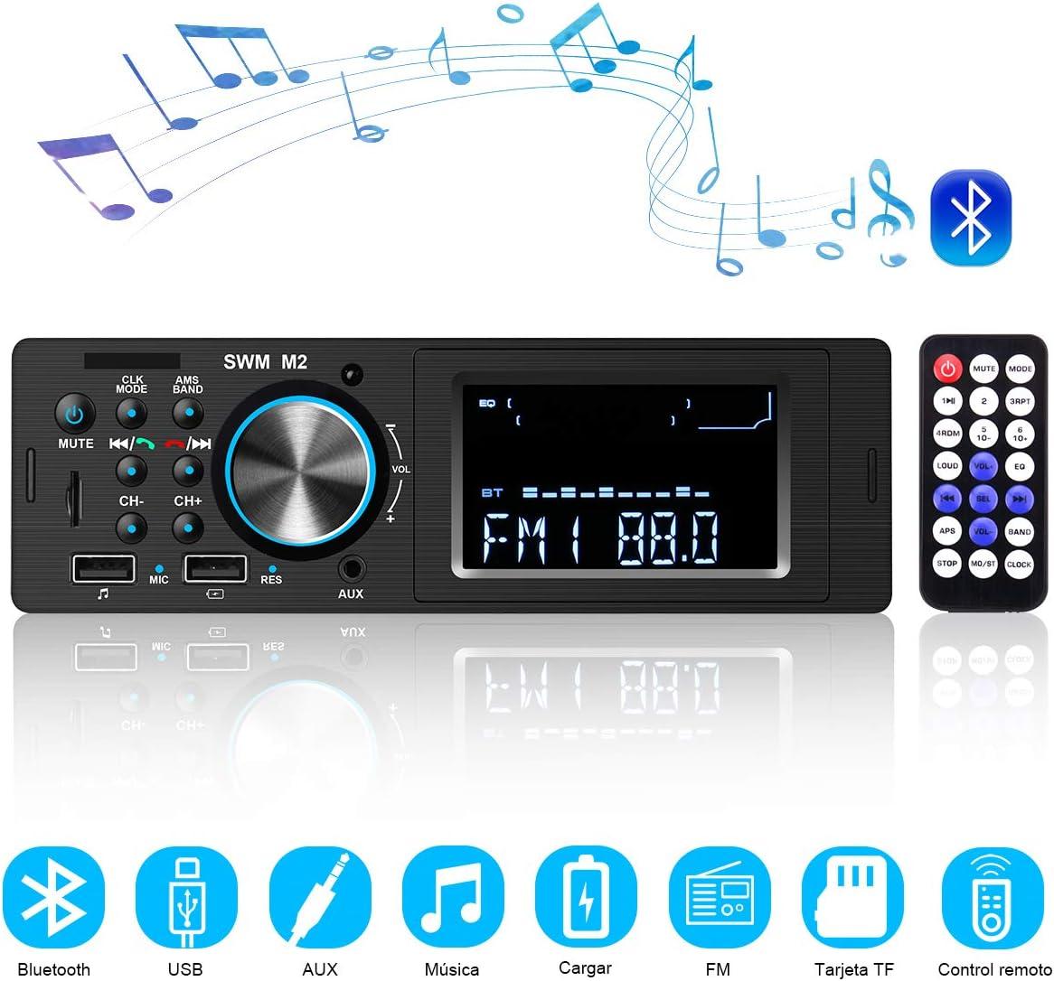 Radio Coche Bluetooth Autoradio Bluetooth, CENXINY Llamadas Manos Libres Control Remoto Radio FM Estéreo de Coche con Reproductor de MP3 USB y Bluetooth 4.0, Soporte iOS y teléfono Android