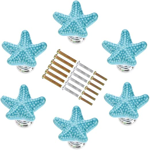 BESPORTBLE Drawer Handle Retro Ocean Style Novelty Starfish Shape Drawer Handle for Cabinet Wardrobe Furniture Decor 1Pc Sky-Blue