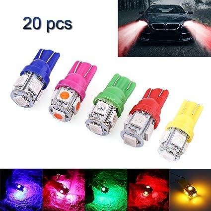 20PCS T10 5050 5SMD Blue LED Car Light Wedge Lamp Bulbs Super Bright DC12V