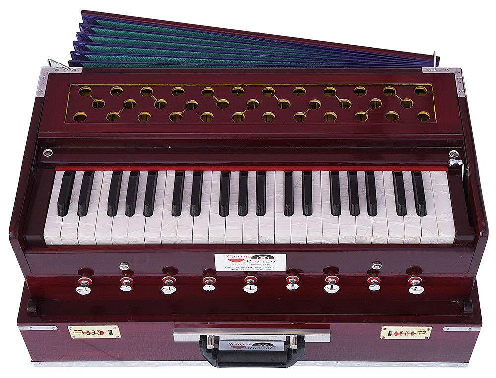 Harmonium Traveler/Portable/Folding Type By Kaayna Musicals, 9 Stops- 5 Main & 4 Drone, 3½ Octaves, Coupler, Dark Colour, Gig Bag, Bass-Male Reed - 440 Hz, Suitable for Yoga, Bhajan, Kirtan, Mantra by Kaayna Musicals (Image #3)