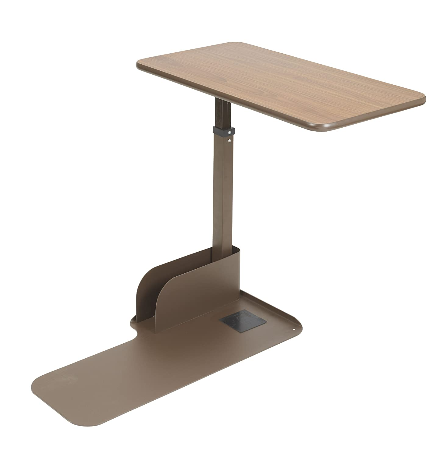 Drive Medical Seat Lift Chair Overbed Table, Walnut, Left Side