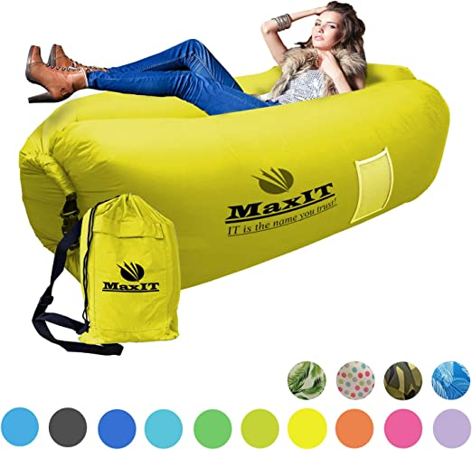 MAXIT Inflatable Hammock Sofa | Pool Floating Air Lounger Bed for Adults or Kids, Perfect for Tanning or Relaxing in The Sun | Easy to Inflate and Puncture Resistant