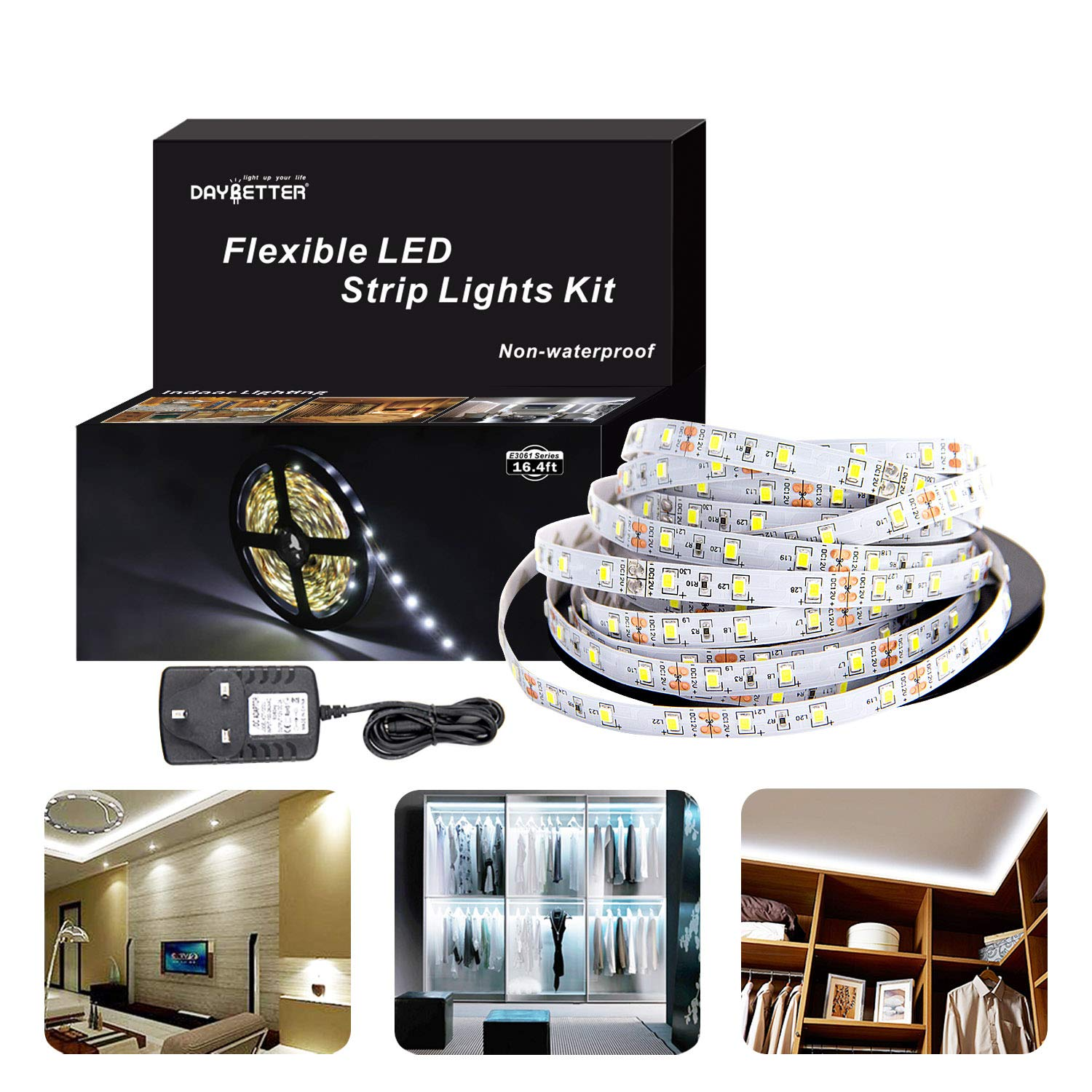 3528 LED Strip Lights, 300 Leds 12v Flexible 5M Powered Adapter kit, non-waterproof Bright Daylight cool white lighting For Bedroom TV Kitchen Ceiling DAYBETTER