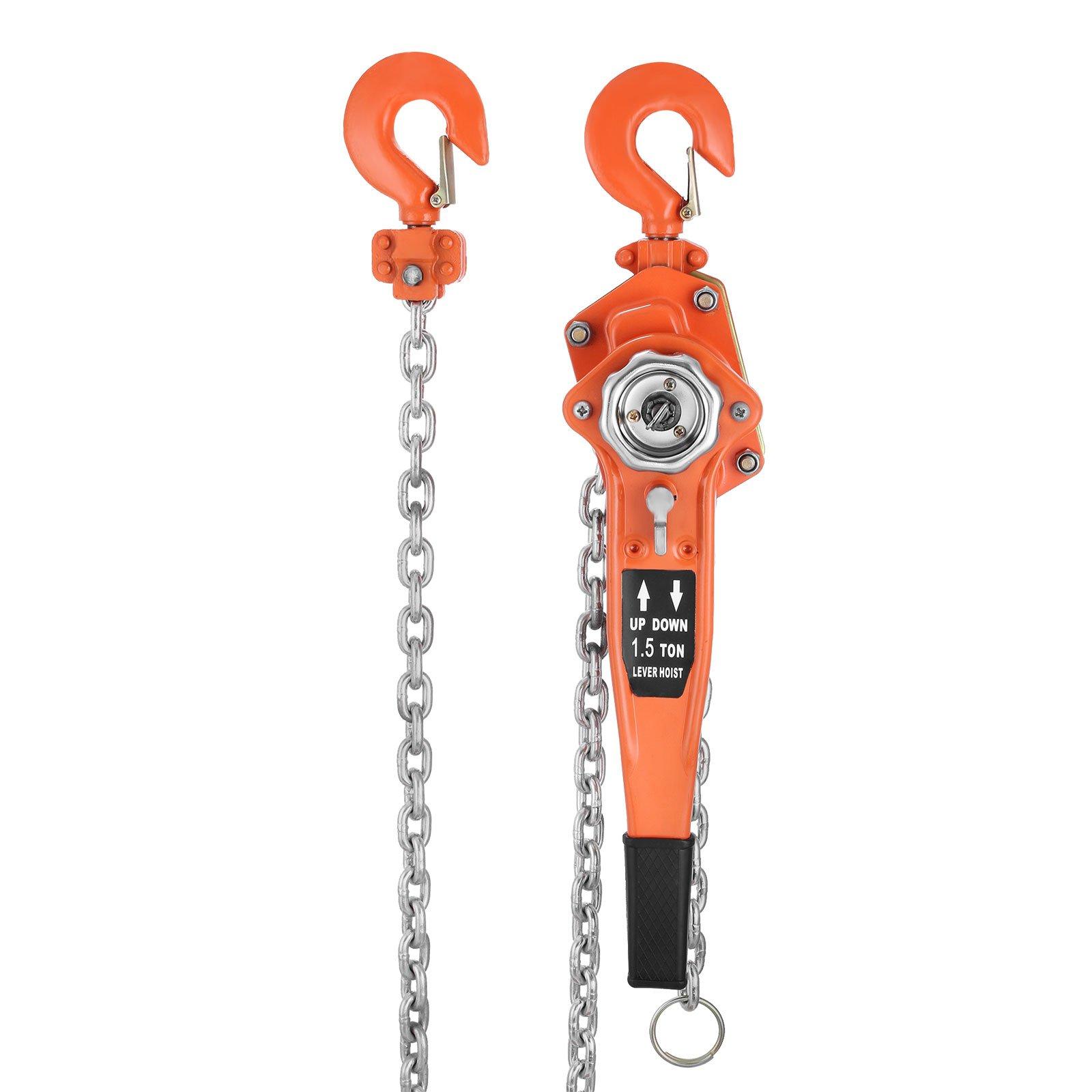 Geindus Lever Block Chain 1.5 Ton Chain Hoist 10FT Chain Block Hoist Come Along Lift Puller (1.5 ton,10ft )