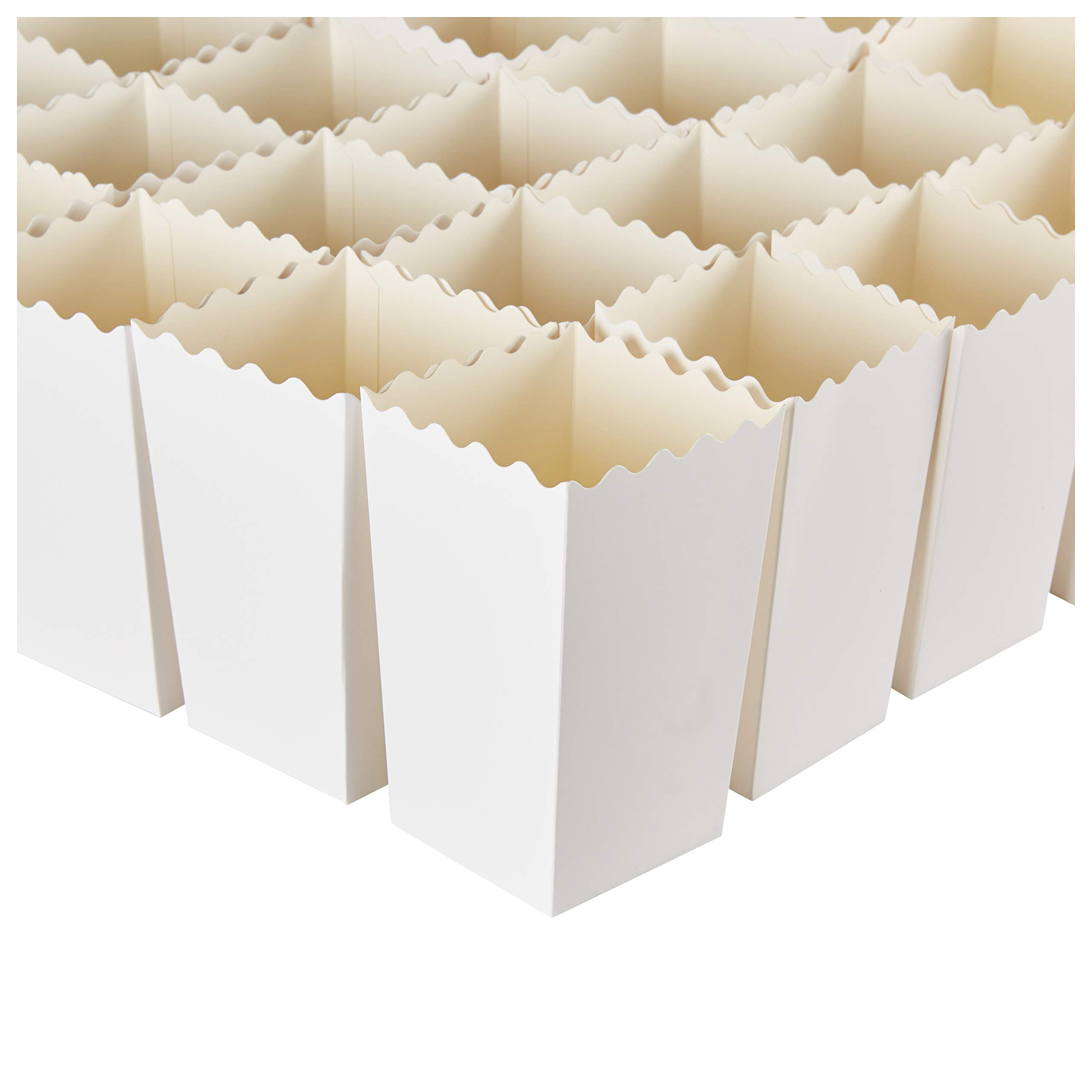 Set of 100 Popcorn Favor Boxes - Carnival Parties 20oz Mini Paper Popcorn and Candy Containers, Party Supplies for Movie Nights, Birthday, Baby Shower, Plain White - 3.3 x 5.5 x 3.3 Inches by Blue Panda