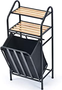 KK KINGRACK Laundry Sorter, Bamboo Wood Laundry Tilt-Out Hamper with 2-Tier Wooden Shelf and Removable Bag, Storage Shelf for Bathroom Laundry Room, Black