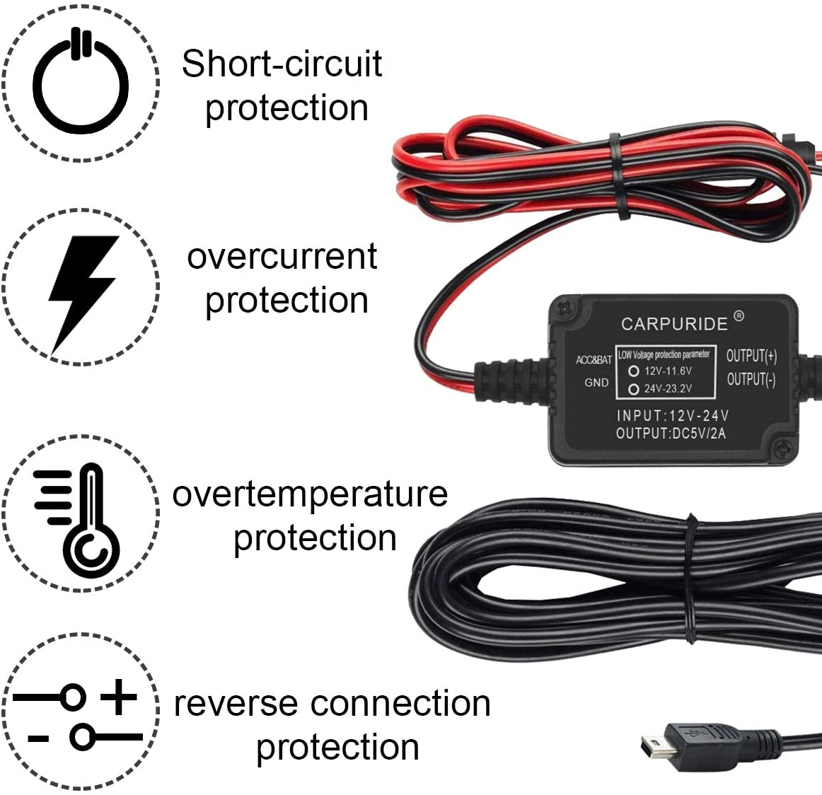 Dash Cam Hardwire Kit, Micro USB Port, DC 12V – 24V to 5V 2A Max Car Charger Cable kit with Fuse, Low Voltage Protection for Dash Cam Cameras Micro USB and Fuse Kit