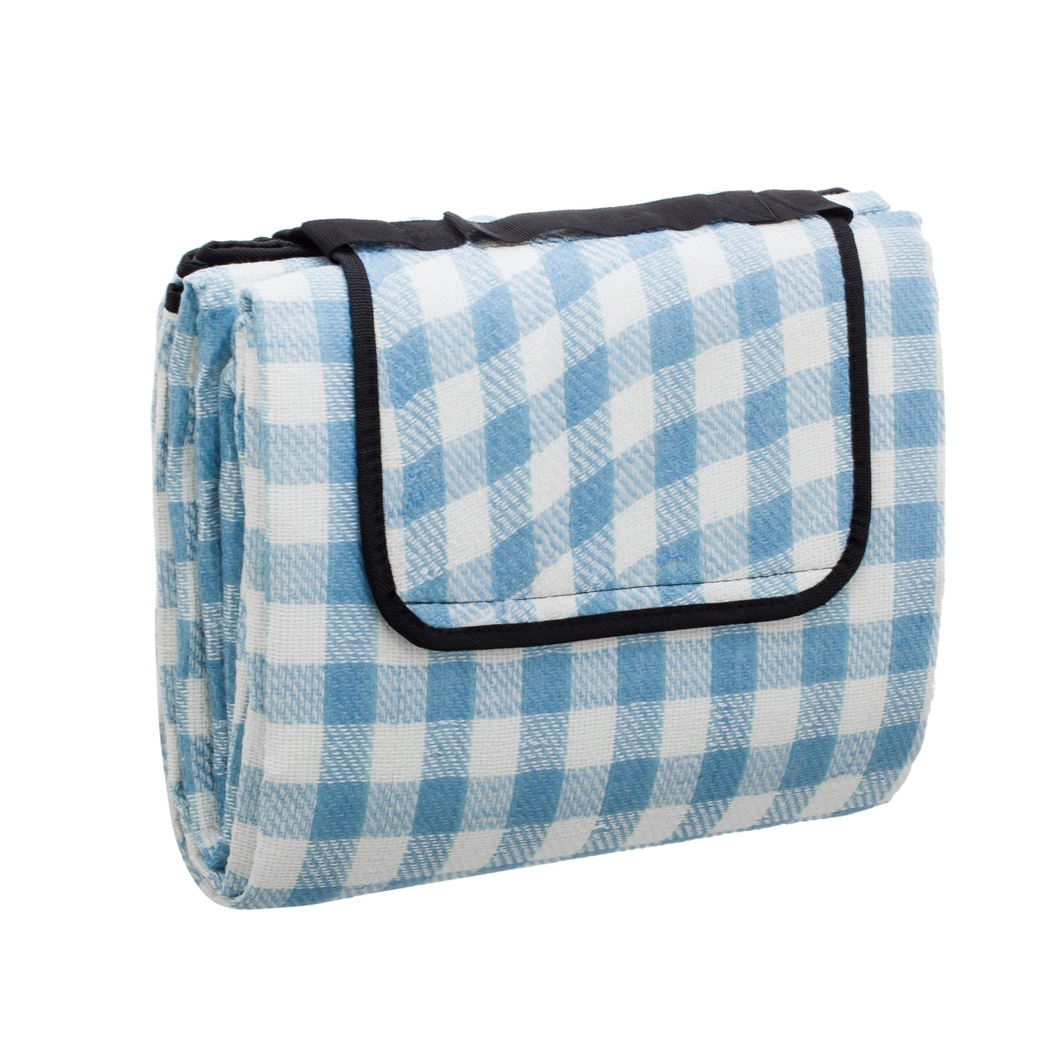 chuanyuekeji Extra Large Picnic & Outdoor Blanket with Waterproof Backing 80'' x 90'' -Blue and white