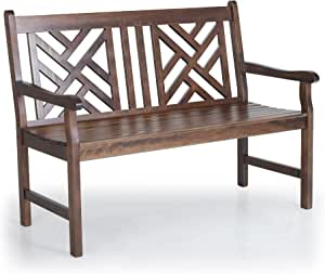 PHI VILLA Outdoor Garden Wooden Bench, 4 Ft Acacia Wood Bench with Curved Backrest and Armrest, 2 Seat All Weather Bench for Patio, Lawn, Balcony, Yard, Porch - Brown