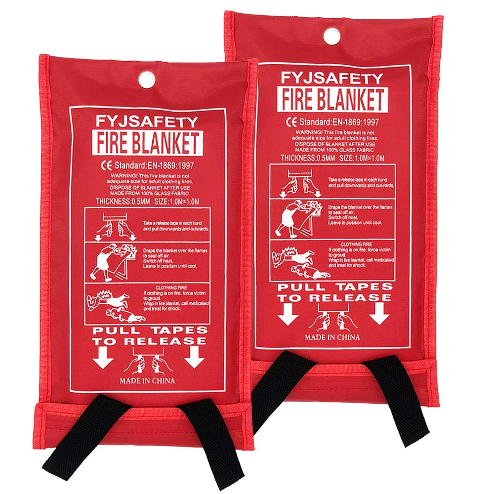 FYJENNICC Fire Blanket Emergency Survival Fiberglass Shelter Safety Cover for The Kitchen, Fireplace, Grill, car, Camping