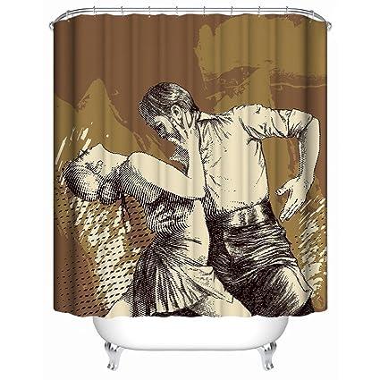 Chun Decor Custom Shower CurtainCreative Anime Dancer Brown Background Waterproof Anti Mildew Fabric Polyester