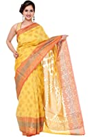 Khadi Cotton Silk Saree (DESIGNER-DOLLZ) B682005 Yellow & Orange Color