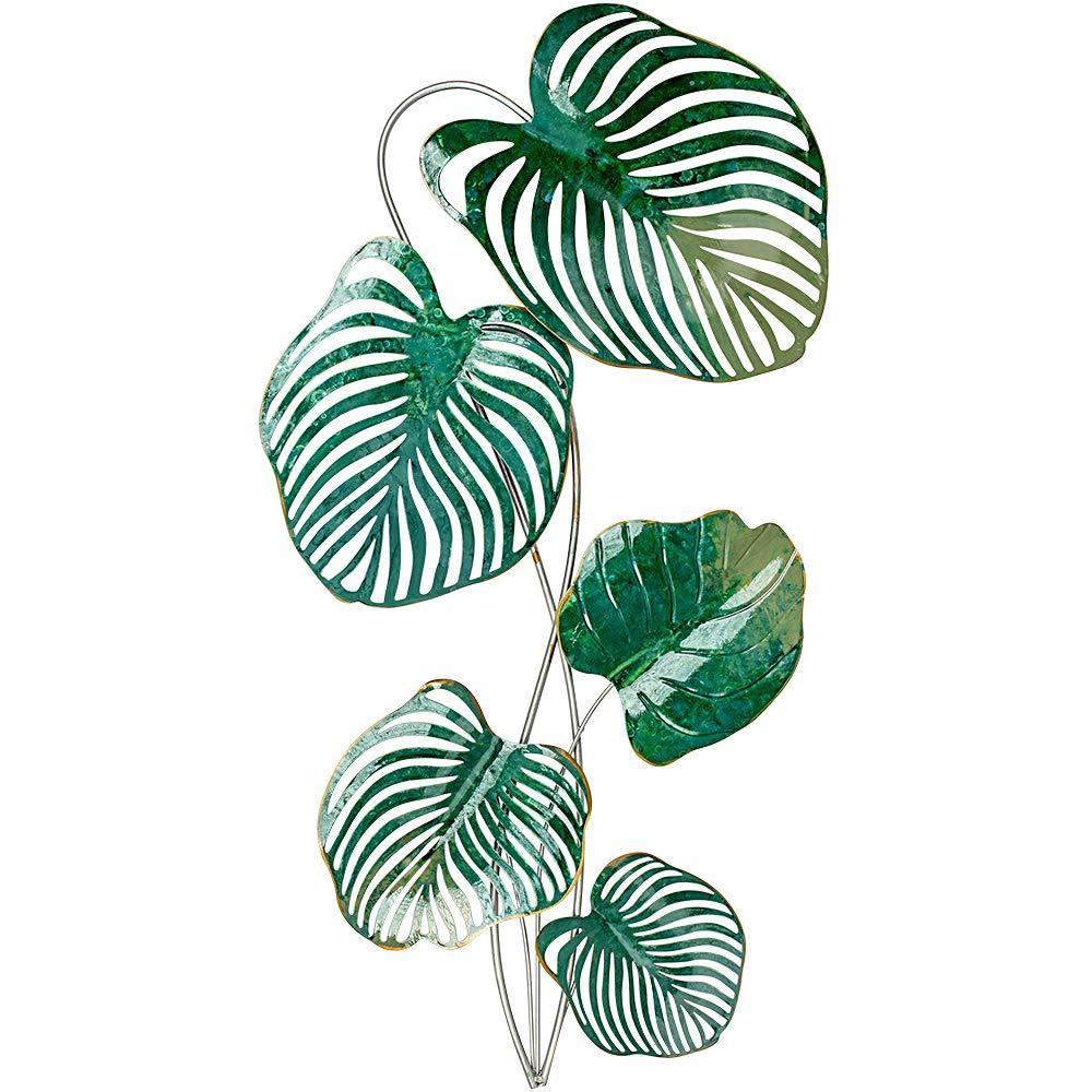Formano Wanddeko Blatt aus Metall, Höhe: 88 cm, Breite: 48 cm, Grün-Mix, 1 Stück