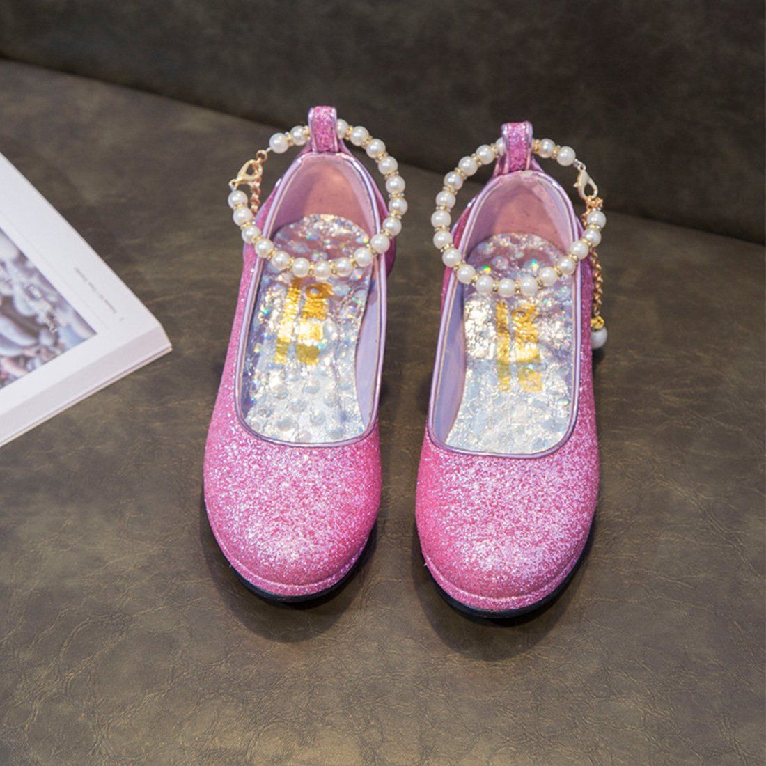 YIBLBOX Girls Kids Toddler Dress up Cosplay Princess Wedding Shoes Sequin Mary Jane Low Heel Shoes by YIBLBOX (Image #3)