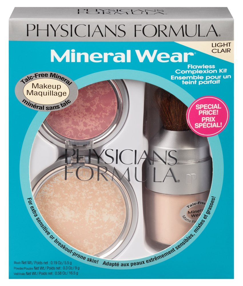 Physicians Formula Mineral Wear Flawless Complexion Kit, Light - Pressed Powder: 0.3 Ounce, Matte Finishing Veil: 0.58 Ounce and Pressed Blush: 0.19 Ounce 7432