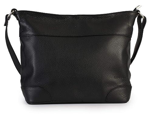 882d0fb2f LIATALIA Womens Genuine Italian Leather Medium Size Hobo Shoulder Handbag -  JANE [Black]
