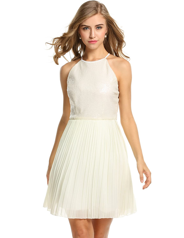 ANGVNS Women Sleeveless Halter Sequins Chiffon Patchwork Party Slim A-line  Dress 58adb051551d