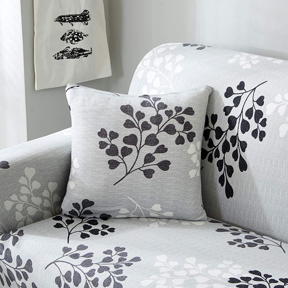 FairOnly Knitted Printed Sofa Cover Full Elastic Slipcover Polyester Fiber Delicate and Pretty Leaves Simple Sofa Cover Leaves Know The Autumn Double Place