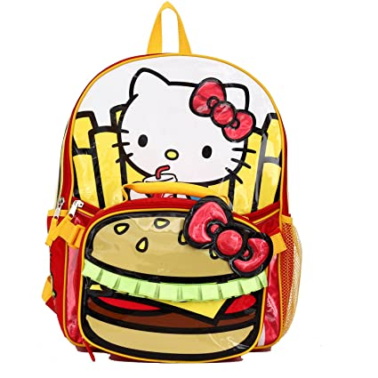 583b1e56b7c0 Amazon.com  Hello Kitty Burger   Fries 16 Backpack and Insulated ...