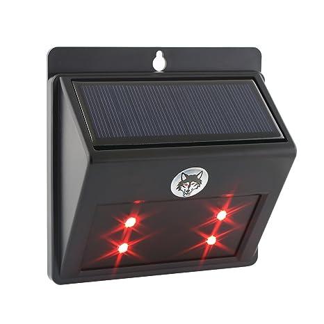 Albrillo Energía solar Predator Disuasión Luz 4 led / Guardias nocturnas contra los animales salvajes / Auto-al ...