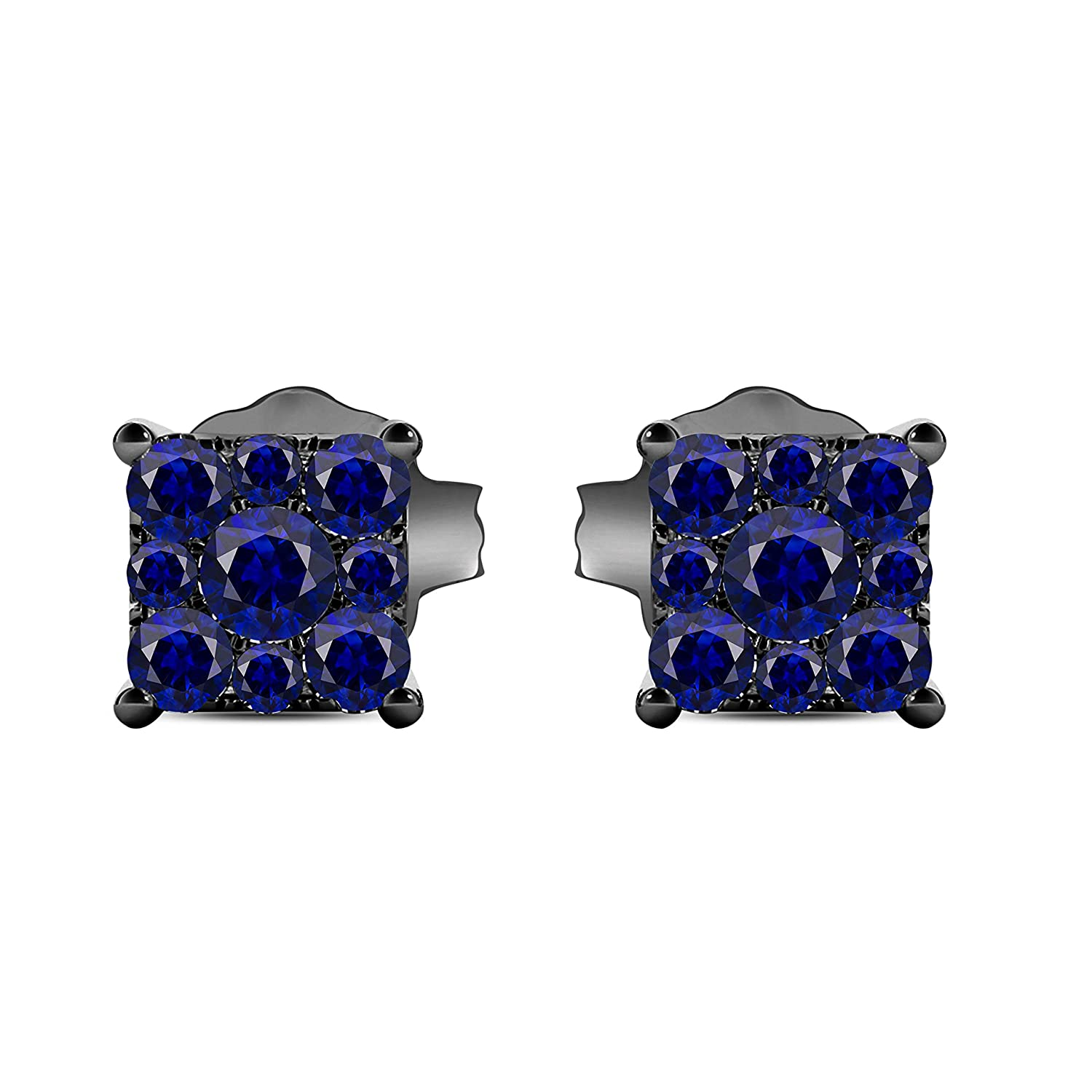 Gems and Jewels Plated Alloy Alloy 14k Black Gold Plated Alloy 1.00 Ct Round Cut Blue Sapphire Stud Earrings For Girls and Womens