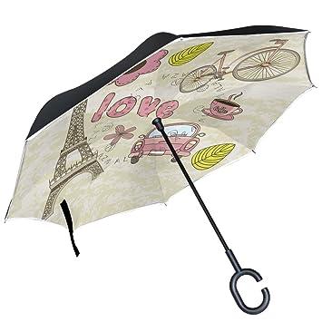 ALAZA Torre Eiffel de París Love café Coche Flores Hojas Paraguas invertido Paraguas Plegable de Doble