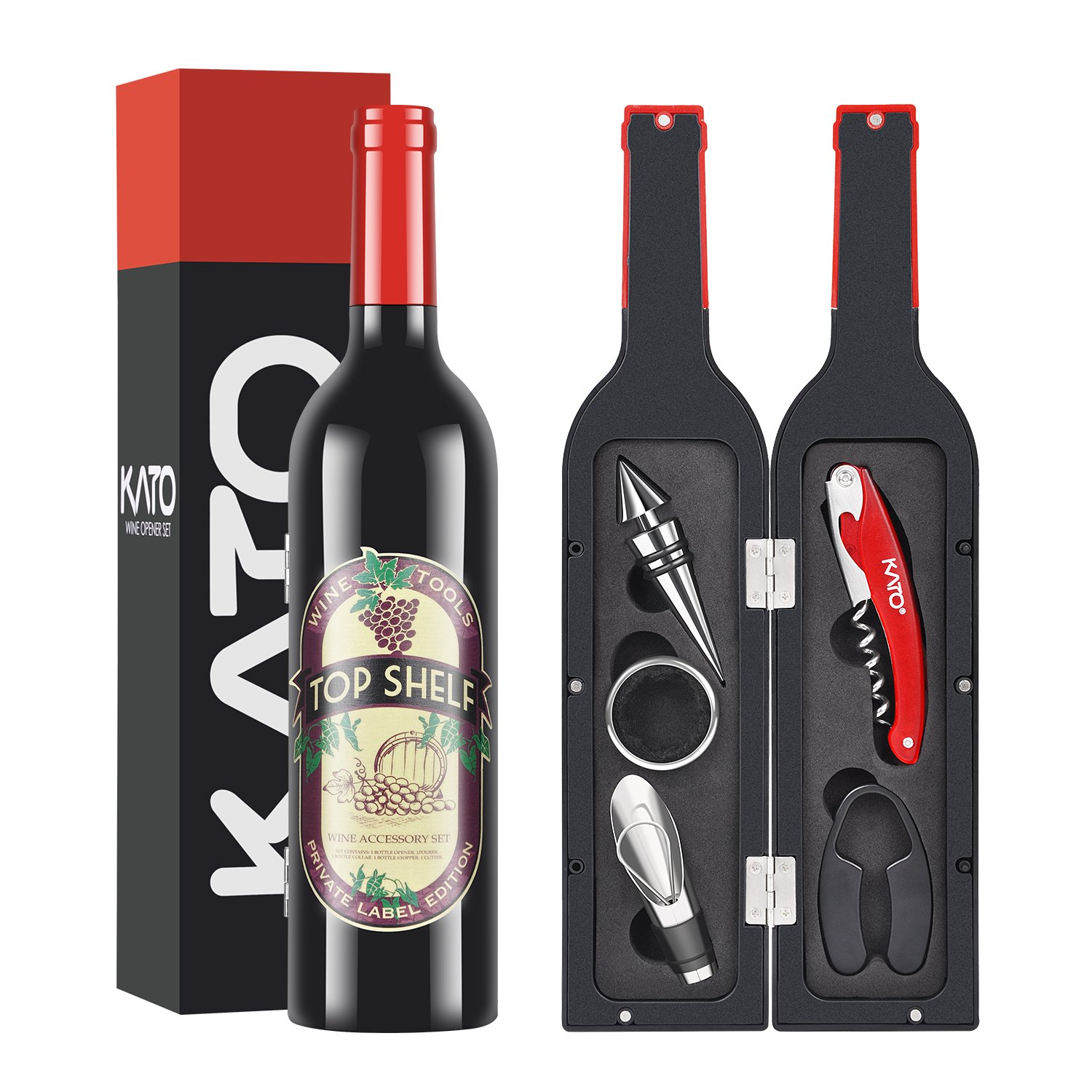 Kato Wine Accessories Gift Set - Wine Bottle Corkscrew Opener Kit, Stopper, Pourer, Foil Cutter, Drip Ring with Free Drink Stickers, Best Gift for Father's Day and Wedding, Red