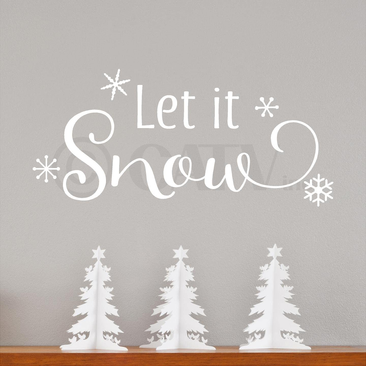 Amazon Com Let It Snow With Snowflakes Vinyl Lettering Wall Decal Style A 12 5 H X 27 L White Arts Crafts Sewing